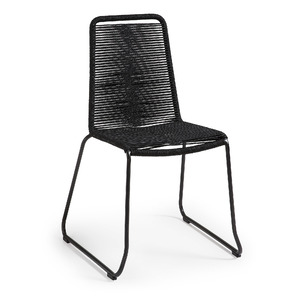 Black Rope Dining Chair with Dark Grey Metal Frame