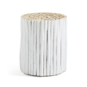 Lusibi Side Table White + Natural
