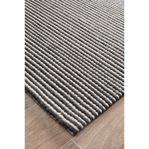 Kibaya Felted Wool Striped Rug Black + White